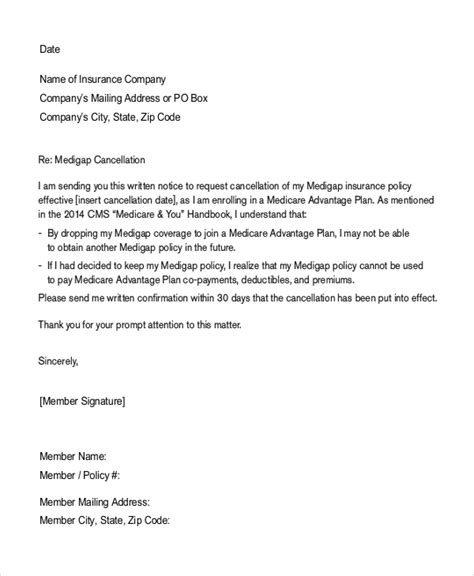 cancellation letter insurance cancellation of insurance cover letter