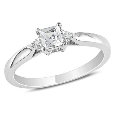 princess cut lab created white sapphire and accent