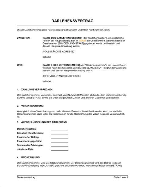 kostenlos muster kreditvertrag darlehensvertrag vorlagen und muster biztree