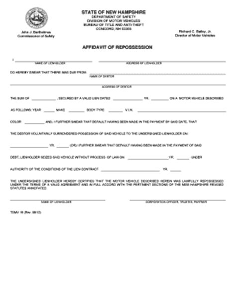 Repo Order Form Fill Online Printable Fillable Blank Pdffiller Repossession Order Form Template