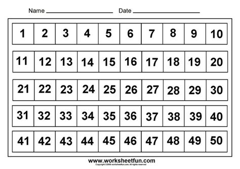free printable number flashcards 1 50 6 best images of printable number grid 1 50 printable