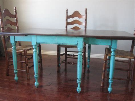 Teal dining table amp ladderback chairs