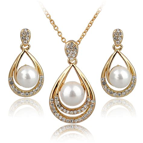 Set Perhiasan Gold 1 fashion jewelry sets 18k real gold silver plated rhinestone jewelry sets necklace earrings pearl