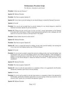 parliamentary procedure script national convention 2011