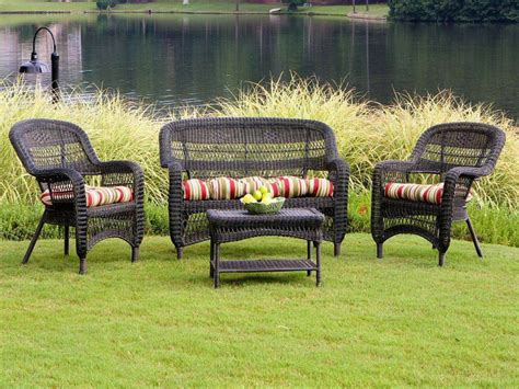 Tortuga Portside Dark Roast Wicker Conversation Set Ps4s Wicker Patio Furniture Set
