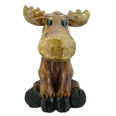 moose lawn ornament beckett sitting moose garden statue 7243210 the home depot