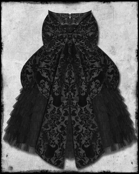 HELL BUNNY LAVINTAGE BLACK GOTH STEAMPUNK VTG VICTORIAN LONG FLOCKED PROM DRESS
