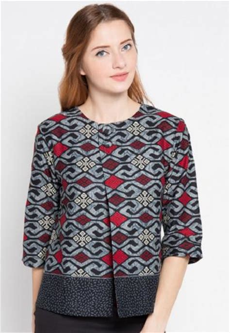 Dress Atasan Blouse Baju Batik Wanita Modern Yeremi Side Arm Top model baju batik atasan modern terbaru 2017 terlengkap