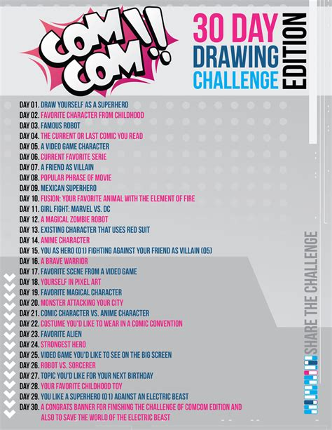 drawing challenge comcom 30 day drawing challenge edition by