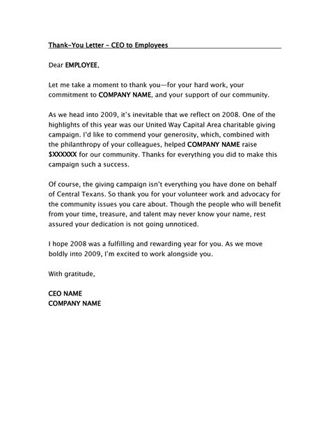 Thank You Letter Work best photos of employee thank you letter exles thank