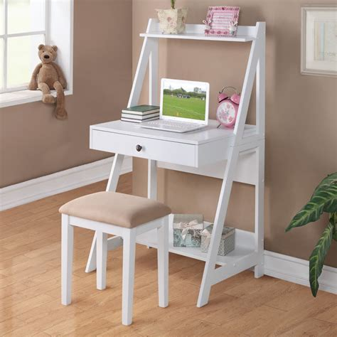 Small White Student Desk 2 Pc White Student Small Writing Desk And Stool W Large Drawer Storage Shelves