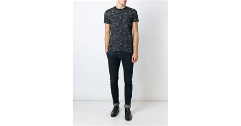 geometric pattern jeans armani jeans geometric pattern t shirt in black for men lyst