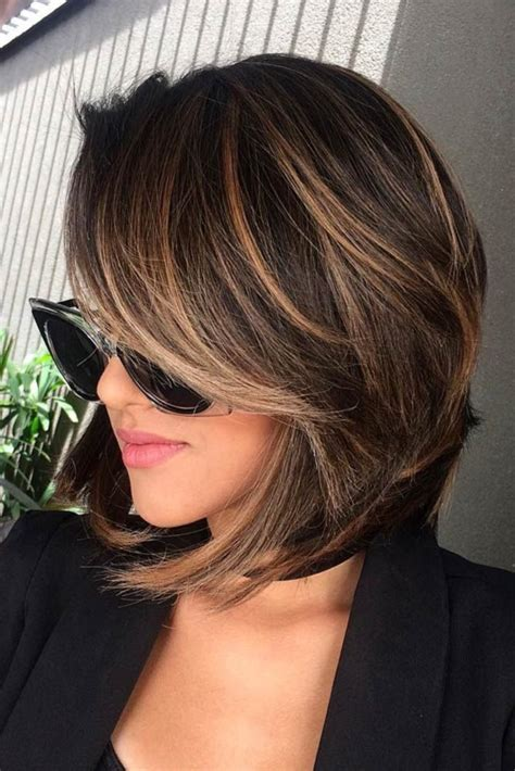 short brunette hairstyles bangs highlights for short hair trend short hair shorts and