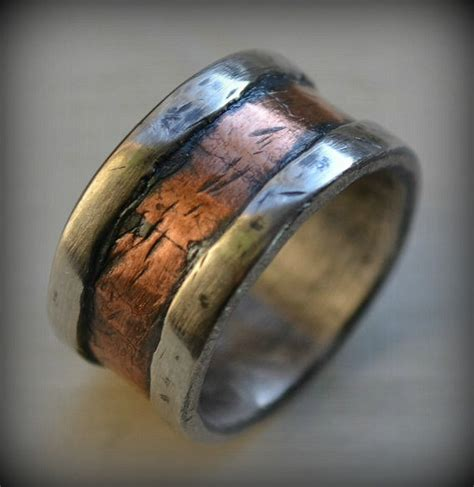 mens wedding band rustic silver and copper by