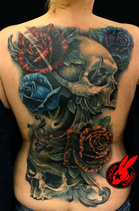 skull roses back piece tattoo by jackie rabbit by