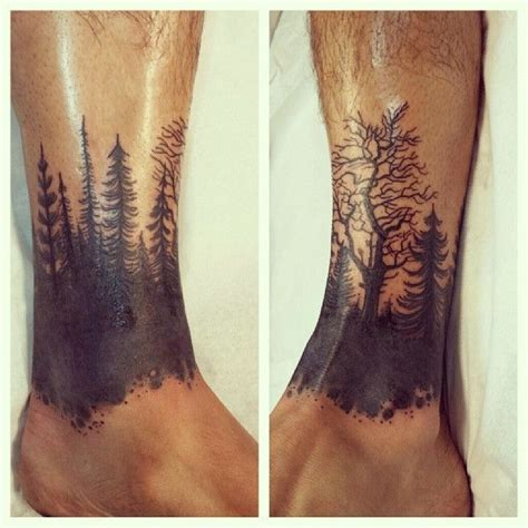 foot tattoo for men forest ankle band silhouette black work tattoos