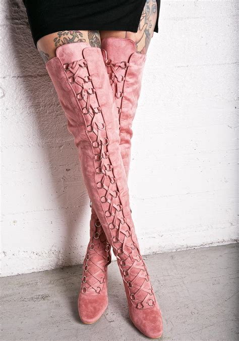 pink suede lace thigh high boots dolls kill