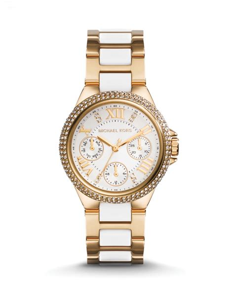 michael kors gold tone white camille 33mm in gold