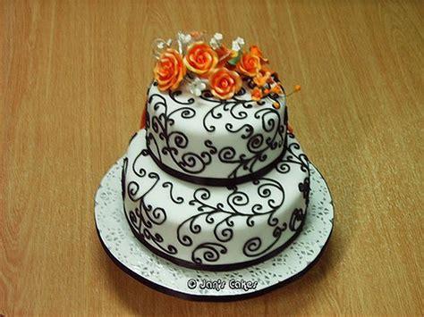 Wedding Cake Origin by Wedding Cake 2 Tier B W N Orange Front View Had