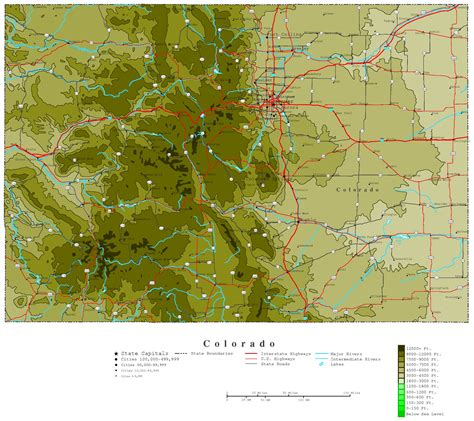 cities of colorado map colorado contour map