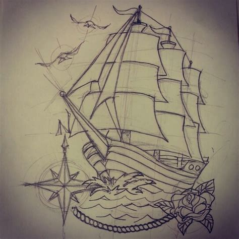 clipper ship tattoo designs traditional ship sketch by ranz