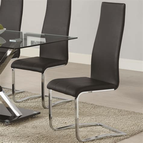 modern leather dining chairs modern dining black faux leather dining chair with chrome