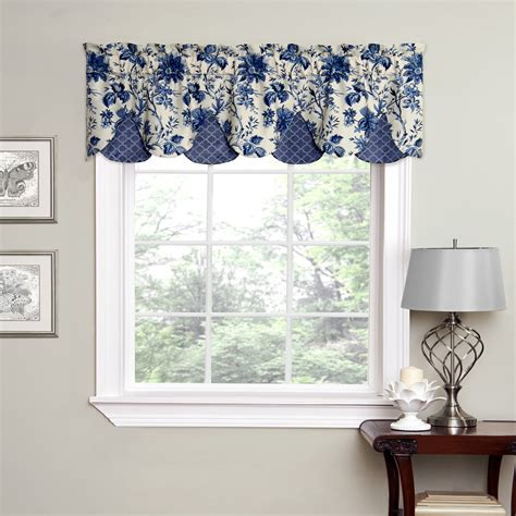 waverly valances waverly felicite window peek a boo valance with framework indigo trim at hayneedle