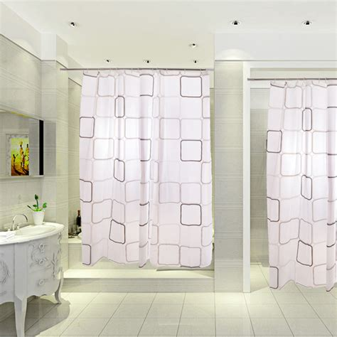 walk in shower with curtain 2014 hot sale classic square print long waterproof white