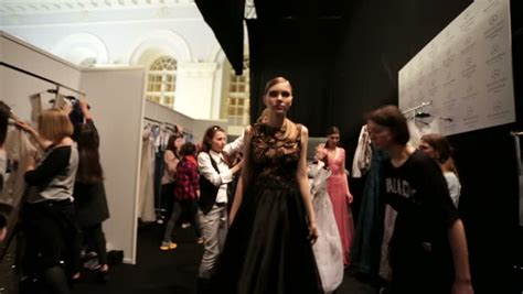 Runway Backstage At Doori by Moscow Russia March 29 2015 The