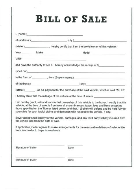 Bill Of Sale With Lien Template by The Carolina Vehicle Bill Of Sale Can Help You Make