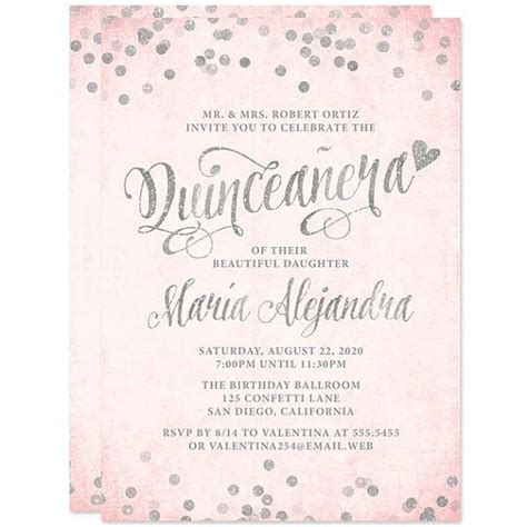 free printable quinceanera invitations blush pink silver quinceanera invitations diy
