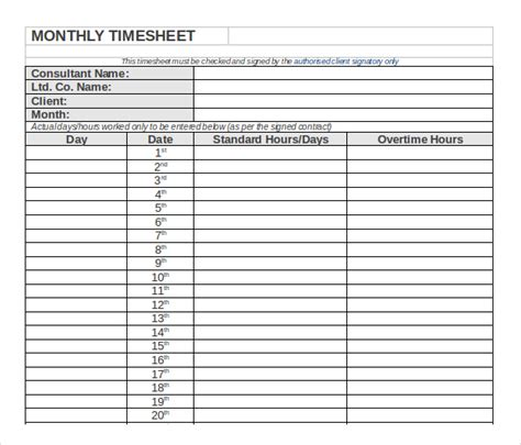 21 Monthly Timesheet Templates Free Sle Exle Timesheet Excel Template Monthly