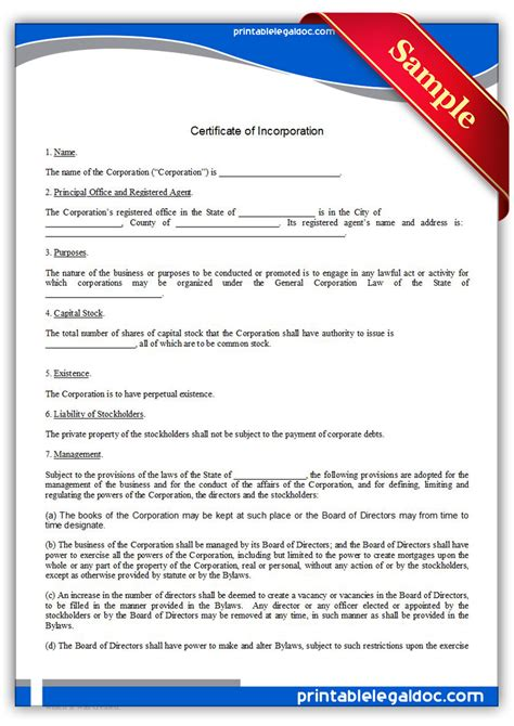 certificate of incorporation template free printable certificate of incorporation form generic