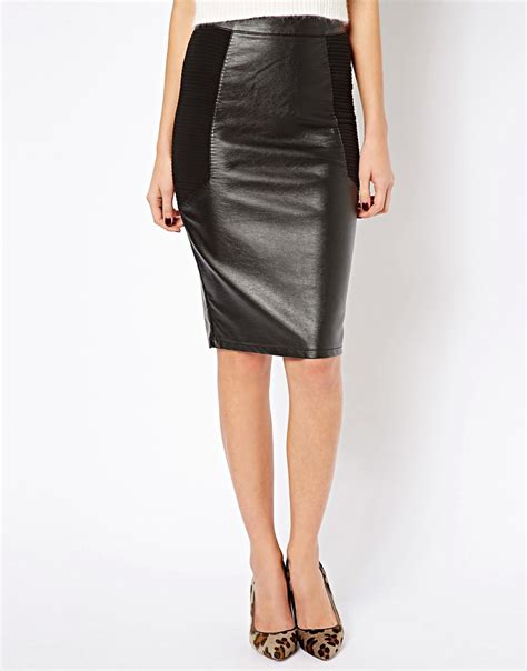warehouse warehouse leather look mix pencil skirt at asos