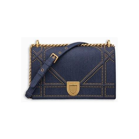 Designer Purse Deal Temperley Studded Bag by Diorama Bag In Blue Studded Denim With Large Cannage