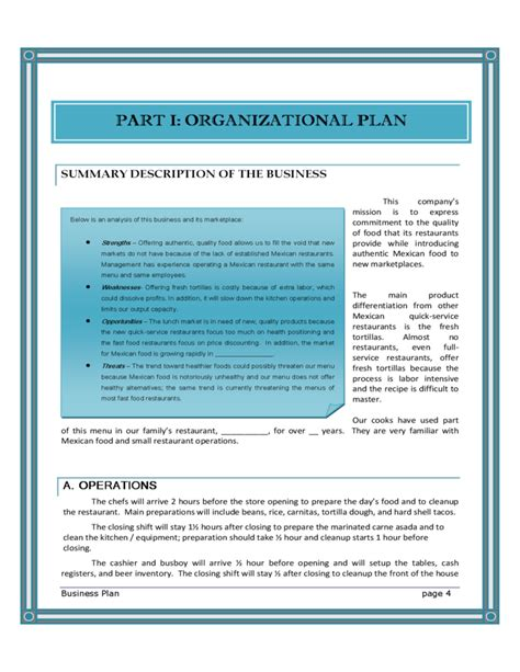 blank restaurant business plan template free download