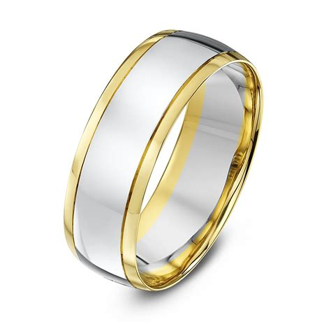9kt white yellow gold court 7mm wedding ring
