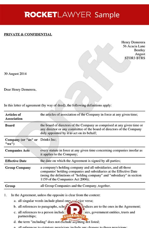 Loa Sle Non Executive Director Letter Of Appointment Template Executive Director Contract Template