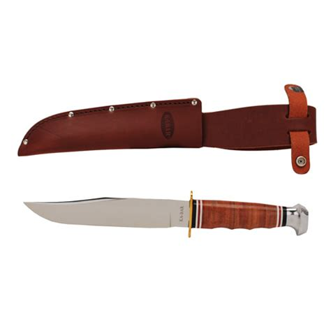 Ka Bar Bowie Fixed Blade Knife Stacked Leather Handle W Sheath 1236 1 ka bar bowie stacked leather handle