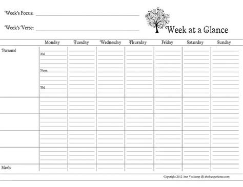 week at a glance calendar template 25 best at a glance planner ideas on