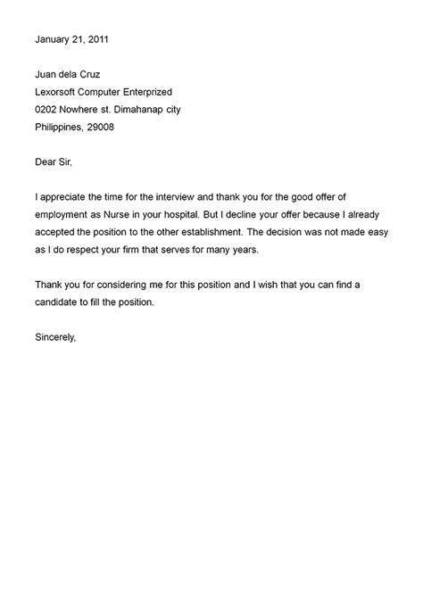 H Decline Letter Exle Of Rejection Letter To Applicant Cover Letter Templates