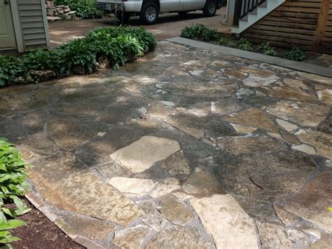 flagstone patio landscape design polymeric sand concrete sidewalk