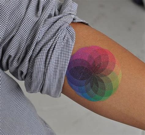 a colorful and beautiful color wheel mandala tattoo that