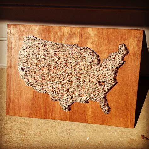 String States - string outline of the united states with hearts