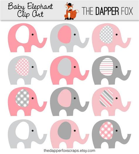 baby shower elephant clip pink and grey elephant clip instant baby