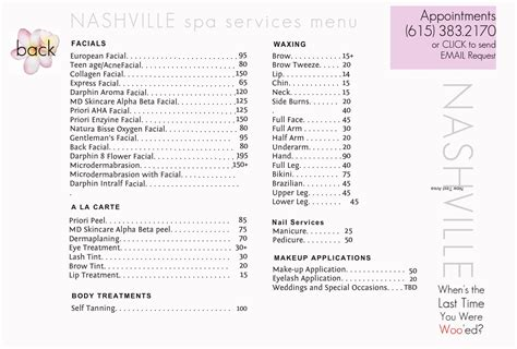 salon service menu template spa menu of services template best and various templates