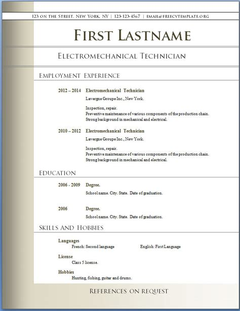 resume template word free download microsoft word resume