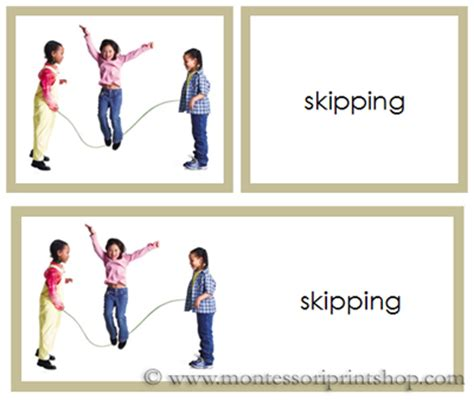 printable montessori action cards actions word picture cards montessori language cards