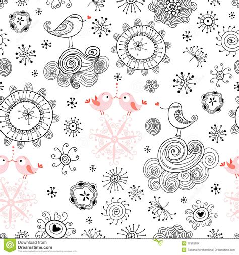 seamless pattern love seamless pattern of love birds and flowers stock images