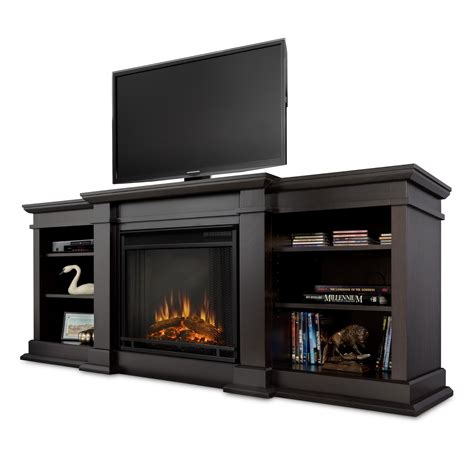 real fresno entertainment unit with electric fireplace